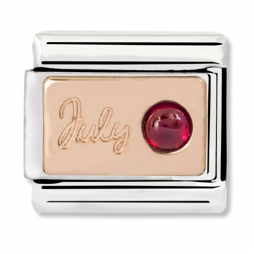 Nomination Classic July Birthstone Steel, Ruby and 9k Rose Gold Link Charm