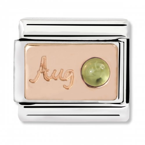 Nomination Classic August Birthstone Steel, Peridot and 9k Rose Gold Link Charm