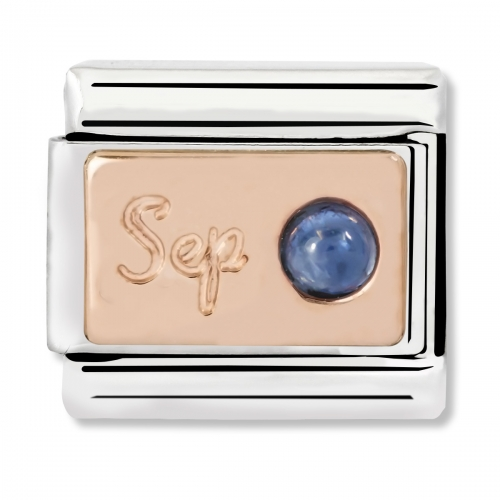 Nomination Classic September Birthstone Steel, Sapphire and 9k Rose Gold Link Charm