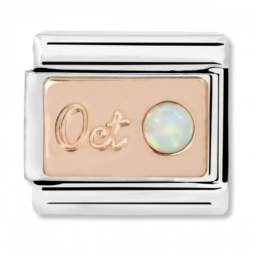 Nomination Classic October Birthstone Steel, White Opal and 9k Rose Gold Link Charm
