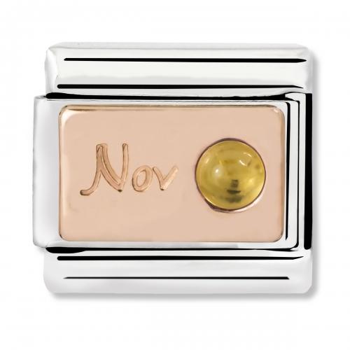 Nomination Classic November Birthstone Steel, Citrine and 9k Rose Gold Link Charm