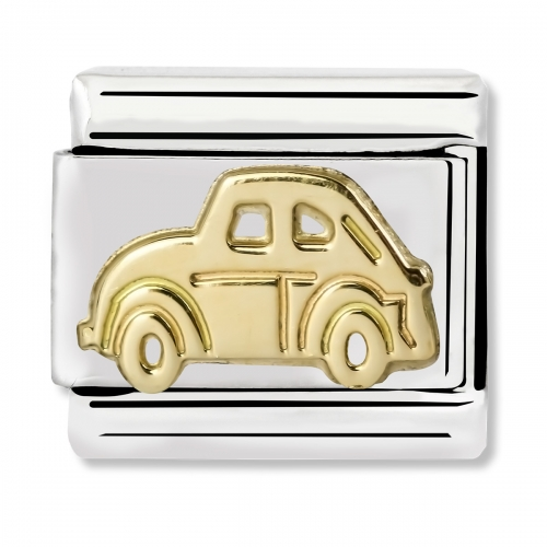 Nomination Classic Car Steel and 18k Gold Link Charm