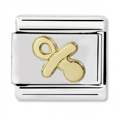 Nomination Classic Pacifier Steel and 18k Gold Link Charm