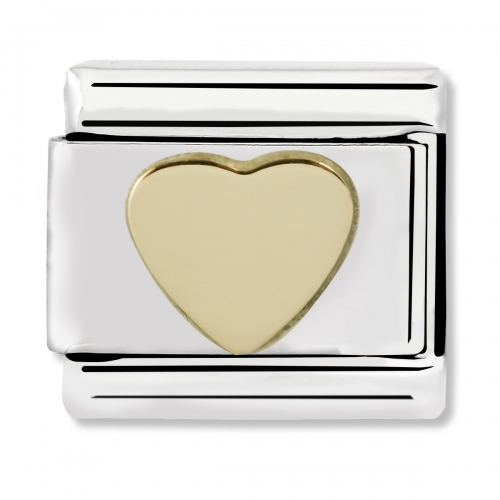 Nomination Classic Heart Steel and 18k Gold Link Charm