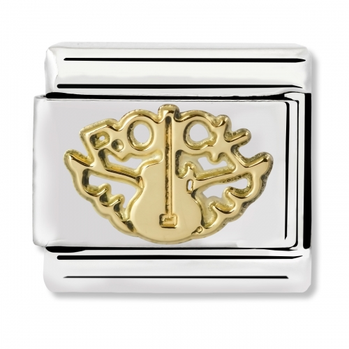 Nomination Classic Rock Angel Steel and 18k Gold Link Charm