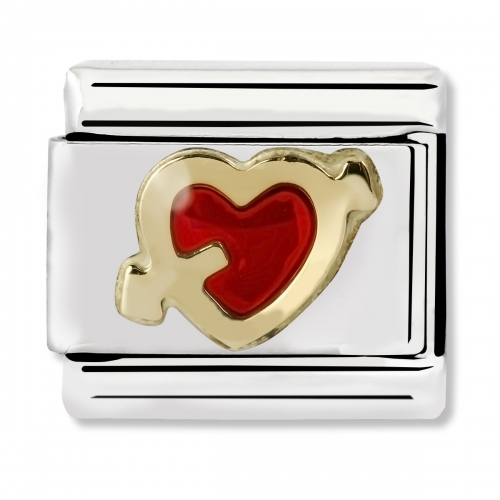 Nomination Classic Red Heart with Arrow Steel, Enamel and 18k Gold Link Charm