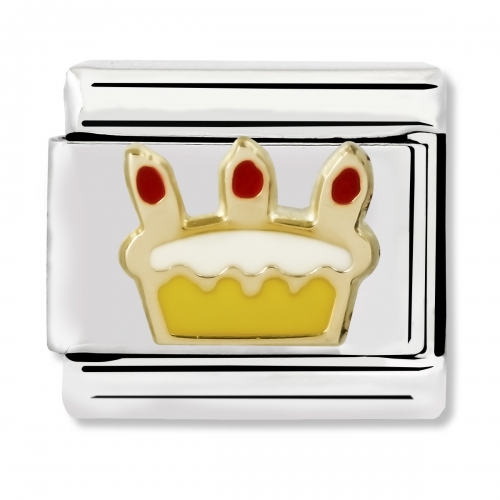 Nomination Classic Birthday Cake Steel, Enamel and 18k Gold Link Charm