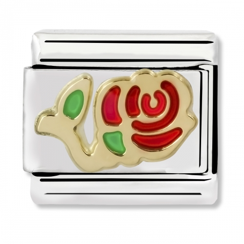 Nomination Classic Rose Steel, Enamel and 18k Gold Link Charm