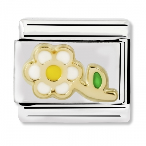 Nomination Classic White and Yellow Flower Steel, Enamel and 18k Gold Link Charm