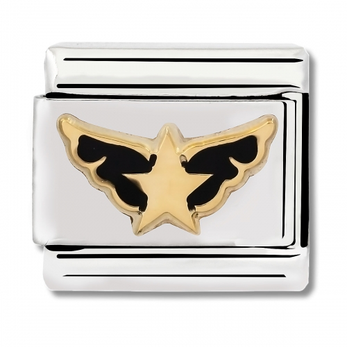 Nomination Classic Angel of the Stars Steel, Enamel and 18k Gold Link Charm