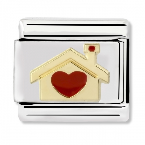 Nomination Classic Home with Heart Steel, Enamel and 18k Gold Link Charm