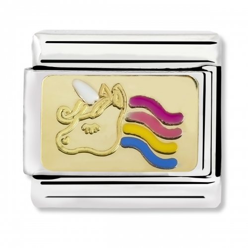 Nomination Classic Colourful Unicorn Steel, Enamel and 18k Gold Link Charm