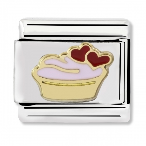 Nomination Classic Muffin Steel, Enamel and 18k Gold Link Charm