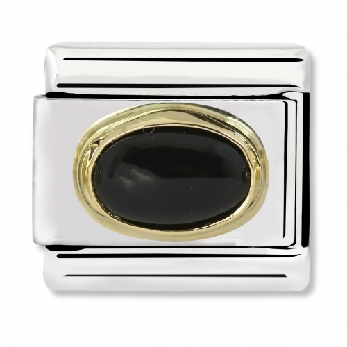 Nomination Classic Oval Stone Steel, Black Agate and 18k Gold Link Charm