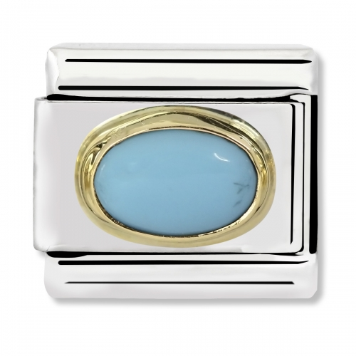 Nomination Classic Oval Stone Steel, Turquoise and 18k Gold Link Charm
