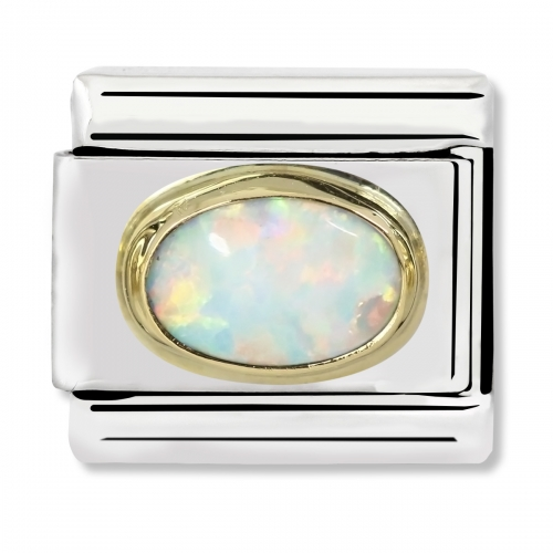 Nomination Classic Oval Stone Steel, White Opal and 18k Gold Link Charm