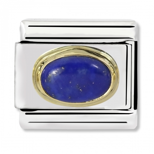 Nomination Classic Oval Stone Steel, Lapis Lazuli and 18k Gold Link Charm