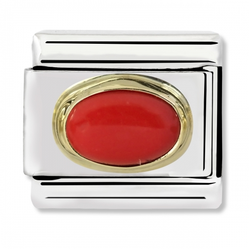 Nomination Classic Oval Stone Steel, Red Coral and 18k Gold Link Charm