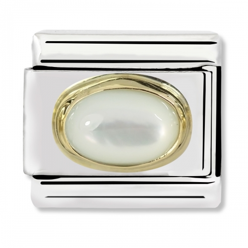 Nomination Classic Oval Stone Steel, Moonstone and 18k Gold Link Charm