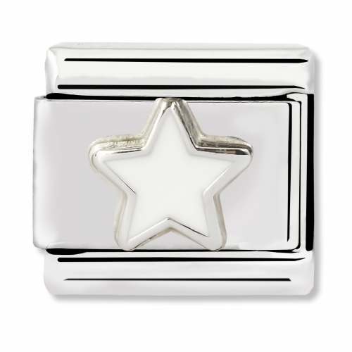 Nomination Classic White Star Steel, Enamel and 925 Silver Link Charm