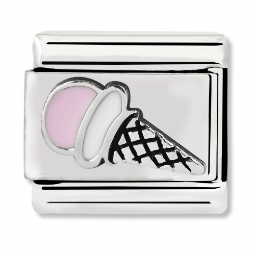 Nomination Classic Pink Ice Cream Steel, Enamel and 925 Silver Link Charm