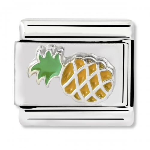 Nomination Classic Pineapple Steel, Enamel and 925 Silver Link Charm