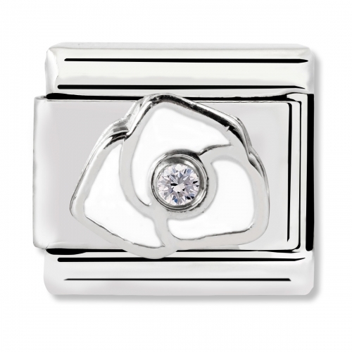 Nomination Classic White Rose Steel, Enamel, CZ and 925 Silver Link Charm