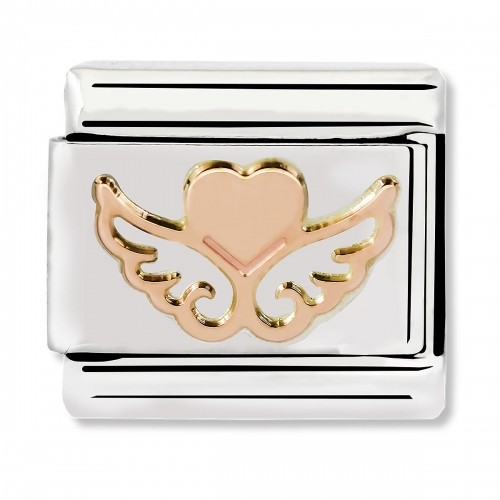 Nomination Classic Heart with Wings Steel and 9k Rose Gold Link Charm