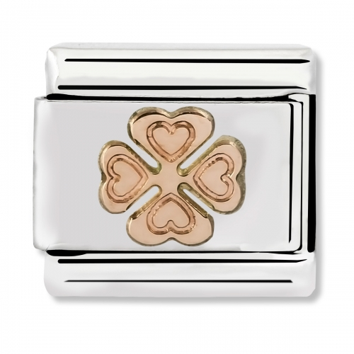 Nomination Classic Engraved Clover Steel and 9k Rose Gold Link Charm