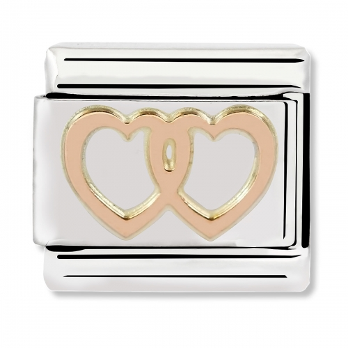 Nomination Classic Double Heart Steel and 9k Rose Gold Link Charm