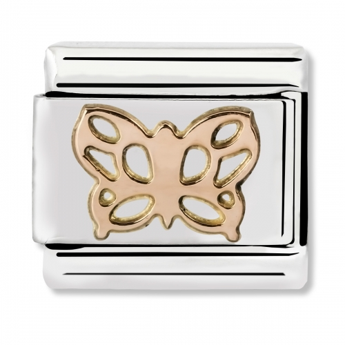Nomination Classic Butterfly Steel and 9k Rose Gold Link Charm