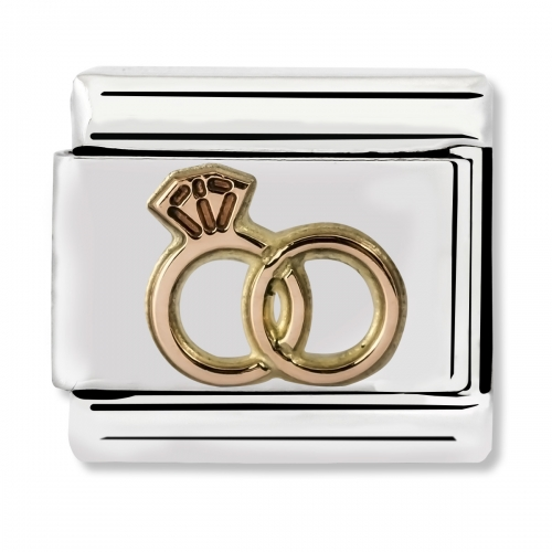Nomination Classic Wedding Rings Steel and 9k Rose Gold Link Charm