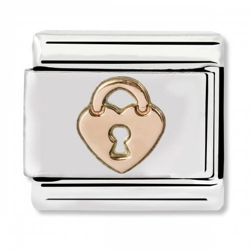 Nomination Classic Heart with Lock Steel and 9k Rose Gold Link Charm
