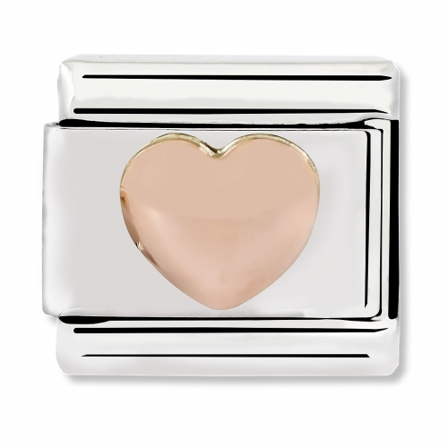 Nomination Classic Raised Heart Steel and 9k Rose Gold Link Charm