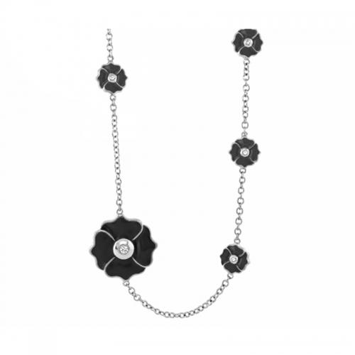 Lauren G Adams Poppy Love Long Black Enamel and CZ Necklace