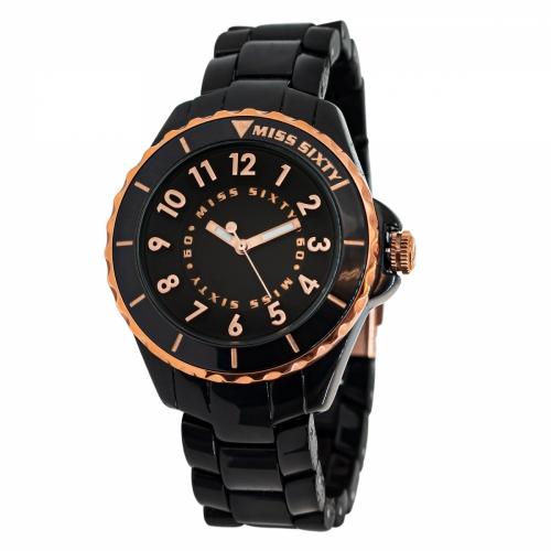 Miss Sixty Glitter Black & Rose Gold Watch