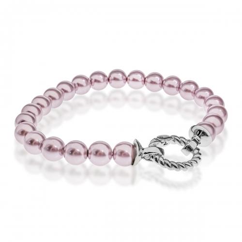 Zinzi Pink Pearl Beaded 19cm Bracelet ZIA401R & Silver Lock ZI360
