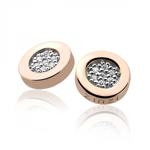 EX DISPLAY: Zinzi Rose Gold Plated Earrings With White Zirconias