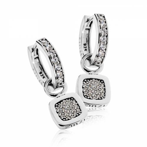 EX DISPLAY: Zinzi Silver and CZ Pendant Earring Set