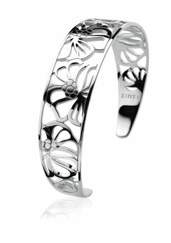 EX DISPLAY: Zinzi Sterling Silver Openwork Floral Cuff Bracelet