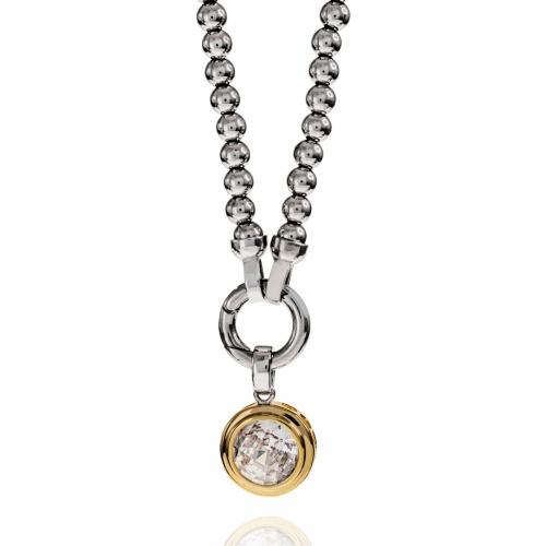EX DISPLAY: Zinzi Silver & Gold CZ Round Pendant Beaded Necklace