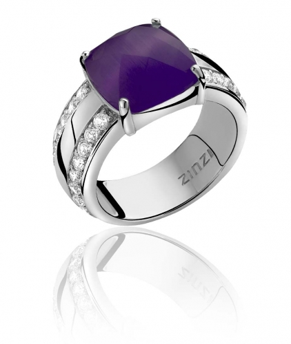Zinzi Sterling Silver Ring With Purple Cats Eye Stone ZIR623P