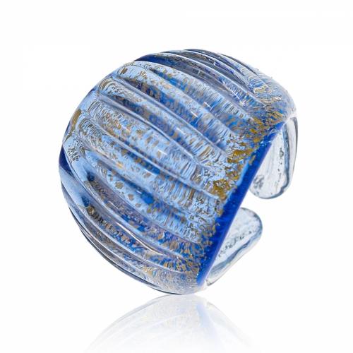 Antica Murrina Blue Murano Glass & 24k Gold Leaf Ring