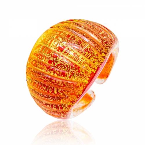 Antica Murrina Orange Murano Glass & 24k Gold Leaf Ring