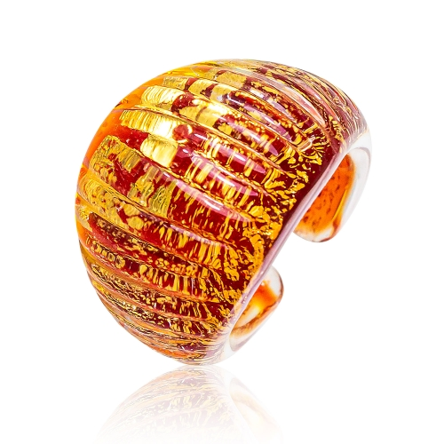 Antica Murrina Dark Orange Murano Glass & 24k Gold Leaf Ring