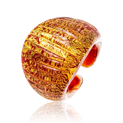 Antica Murrina Red Murano Glass & 24k Gold Leaf Ring
