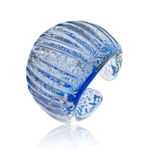 Antica Murrina Blue Murano Glass & Pure Silver Leaf Ring