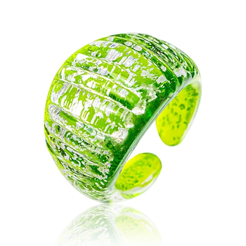 Antica Murrina Lime Murano Glass & Pure Silver Leaf Ring