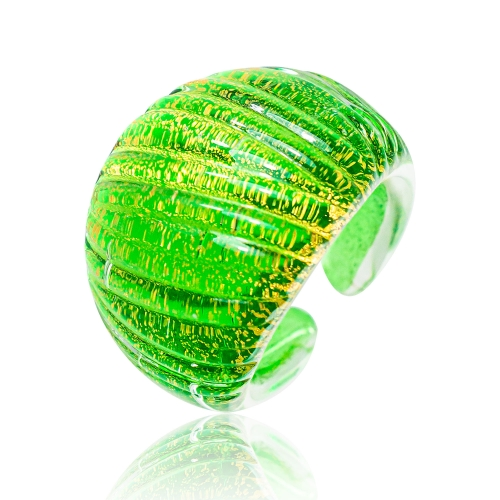 Antica Murrina Green Murano Glass & 24k Gold Leaf Ring