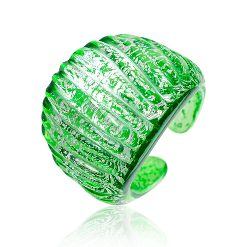 Antica Murrina Green Murano Glass & Silver Leaf Ring